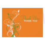 Orange Green White Floral Thank You Card Greeting Cards