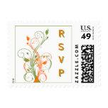 Orange, Green, White Floral Wedding RSVP Postage