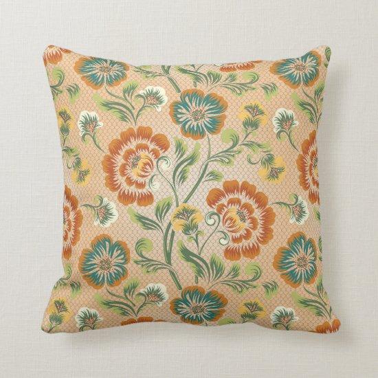 Orange Green Yellow Floral Baroque Pattern Throw Pillow