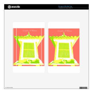 Orange/Green/Yellow Horreo pop art Skin For Kindle Fire