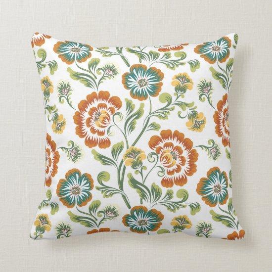 Orange Green Yellow White Floral Baroque Pattern Throw Pillow