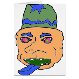 Orange Gremlin Head Greeting Cards