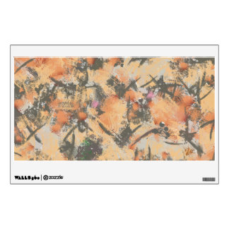 Orange grey abstract design room sticker
