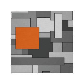 Orange Grey Abstract Geometric Art Canvas Print