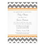 Orange Grey Chevron Custom Baby Shower Invitations