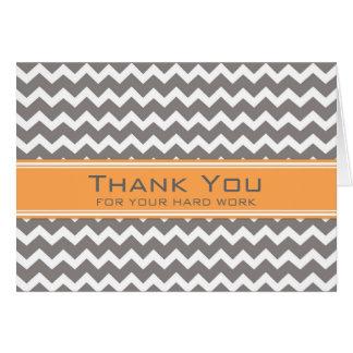 Orange Grey Chevron Employee Anniversary Card