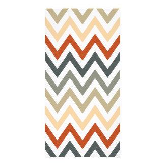 Orange Grey Chevron Geometric Designs Color Card
