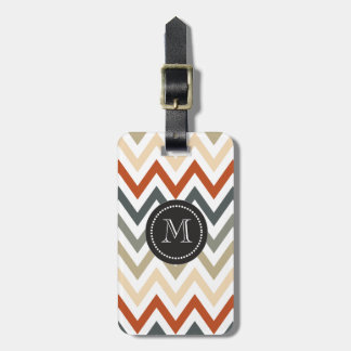 Orange Grey Chevron Geometric Designs Color Luggage Tag