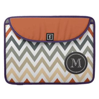 Orange Grey Chevron Geometric Designs Color MacBook Pro Sleeve
