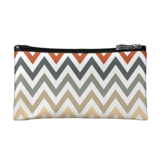 Orange Grey Chevron Geometric Designs Color Makeup Bag