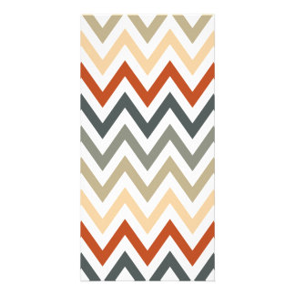 Orange Grey Chevron Geometric Designs Color Photo Card Template