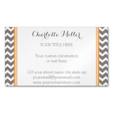 Professional Business Orange Grey Chevron Magnetic Business Card