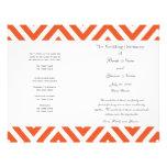 Orange Grey Chevron Modern Wedding Program Flyer
