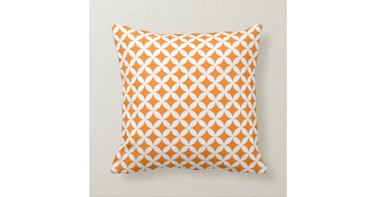 Orange Grey Circles Monogram Decorative Pillow Zazzle