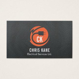 Orange & grey electrician logo design business card
