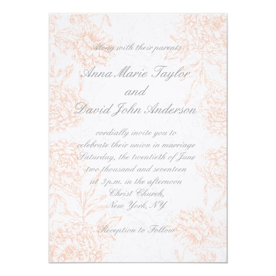 Orange Grey Floral Vintage Wedding Invitation