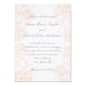 Orange Grey Floral Vintage Wedding Invitation 4.5