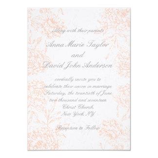Orange Grey Floral Vintage Wedding Invitation