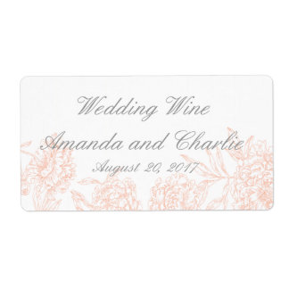 Orange Grey Floral Vintage Wedding Wine Label