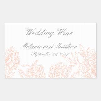 Orange Grey Floral Vintage Wedding Wine Label Rectangular Sticker