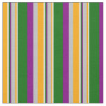 [ Thumbnail: Orange, Grey, Purple, Dark Green & White Lines Fabric ]