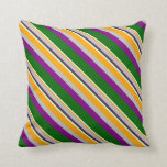 [ Thumbnail: Orange, Grey, Purple, Dark Green & White Lines Throw Pillow ]