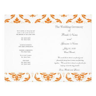 "Orange Grey Vintage Damask Wedding Program 8.5"" X 11"" Flyer"