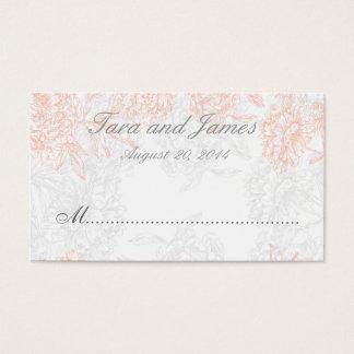 Orange Grey Vintage Floral Wedding Place Card