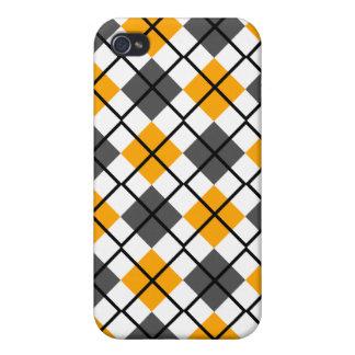 Orange, Grey, White and Black Argyle iPhone 4 Case