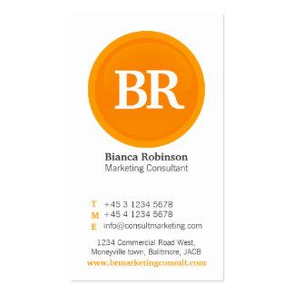 Orange, grey & white glass circle business card