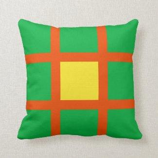 Orange Grid Pattern Throw Pillow