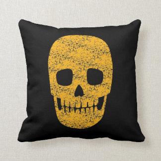 Orange Grinning Skull - Halloween Decor Pillow