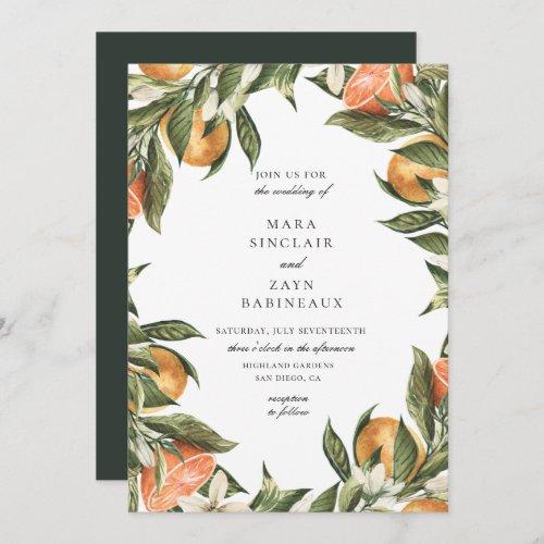 Orange Grove Botanical Citrus Frame Wedding Invitation