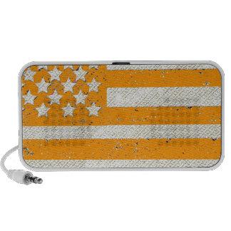 Orange grunge American flag Mini Speaker