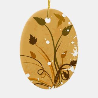 Orange Grunge Butterfly Oval Ceramic Ornament