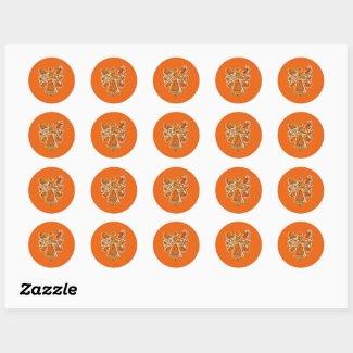 Orange Guardian Angel Art Decal Stickers