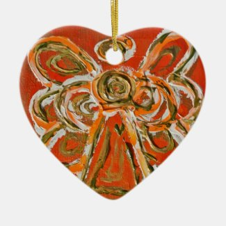 Orange Guardian Angel Art Holiday Ornament