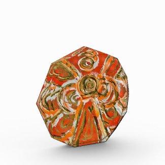 Orange Guardian Angel Art Paperweight Award