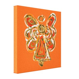 Orange Guardian Angel Art Wrapped Canvas Painting