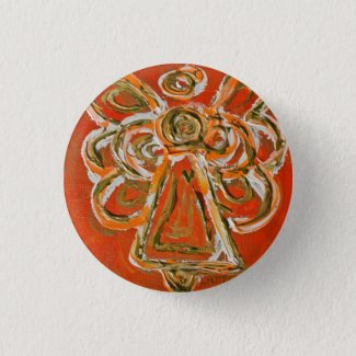 Orange Guardian Angel Button, Pin, or Pendant Pinback Button