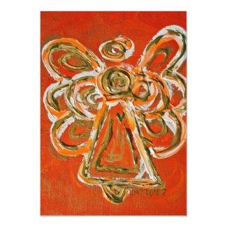 Orange Guardian Angel Custom Invite or Invitation