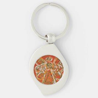 Orange Guardian Angel Custom Keychains