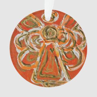 Orange Guardian Angel Gift Holiday Ornament