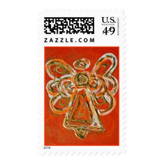 Orange Guardian Angel Holiday Postage Stamp