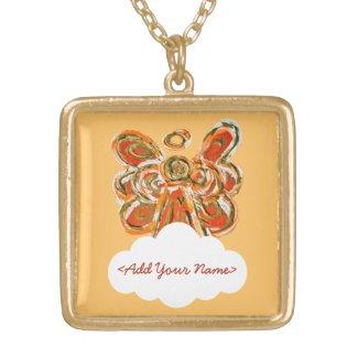 Orange Guardian Angel Series Cloud Custom Necklace