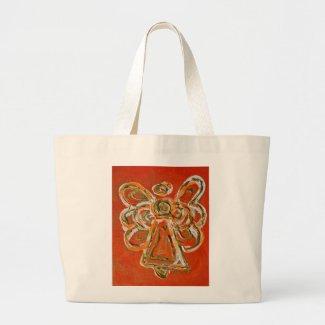 Orange Guardian Angel Tote Bags