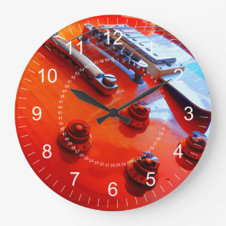 Orange Guitar Wall Clocks
