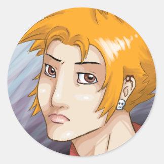 Orange Hair Boy Classic Round Sticker