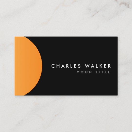 Orange Half Circle Black Modern Stylish Business Card Zazzle Com