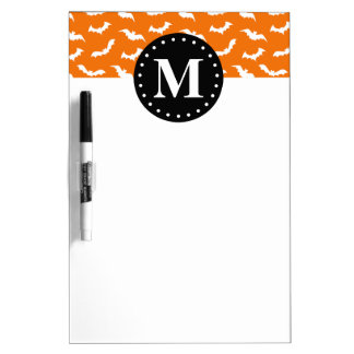 Orange Halloween Bat Pattern Black Monogram Dry-Erase Board